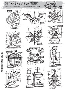 Tim Holtz Cling Rubber Stamps cms136 MINI BLUEPRINTS Stampers Anonymous zoom image