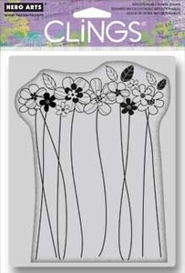 Hero Arts Cling Stamp TALL FLOWERS cg525 Rubber Unmounted zoom image