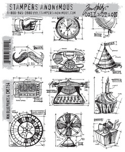Tim Holtz Cling Rubber Stamps CMS154 MINI BLUEPRINTS 4 Stampers Anonymous zoom image