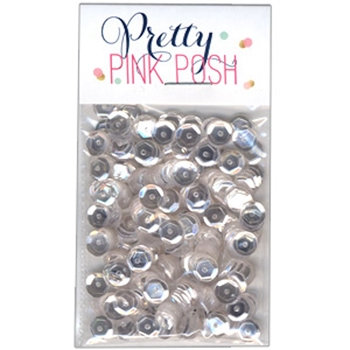 Pretty Pink Posh 6MM SPARKLING CLEAR Cupped Sequins
