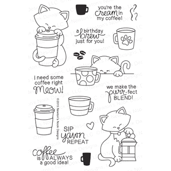 Newton's Nook Designs NEWTON LOVES COFFEE Clear Stamp Set 20150902