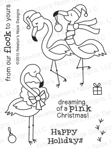 Newton's Nook Designs FESTIVE FLAMINGOS Clear Stamp Set 20151004