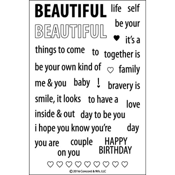 Concord & 9th BEAUTIFUL WORDS Clear Stamp Set 10066C9