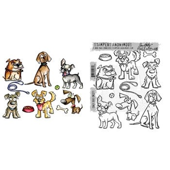 Tim Holtz Sizzix CRAZY DOGS Framelits Die And Cling Stamp Set THS271*