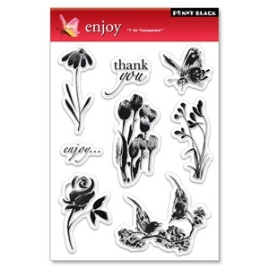 Penny Black Clear Stamps ENJOY Birds Butterfly Flowers 30-024 zoom image