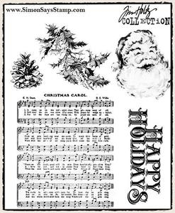 Tim Holtz Cling Rubber Stamps HOLIDAY WISHES cms095 zoom image
