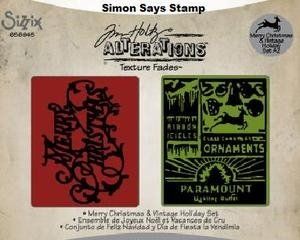 Tim Holtz Sizzix MERRY CHRISTMAS & VINTAGE HOLIDAY Texture Fades Embossing Folders 656945 zoom image