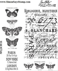 Tim Holtz Cling Rubber Stamps PAPILLON CMS106 Butterfly zoom image