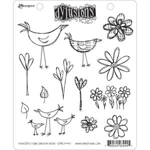 Dyan Reaveley HOW DOES YOUR GARDEN GROW Stamp Set Dylusions Cling Unmounted Rubber DYR34445 zoom image