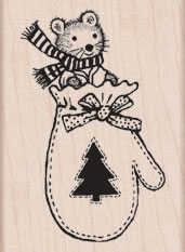 Hero Arts MITTEN MOUSE Rubber Stamp H5523 zoom image