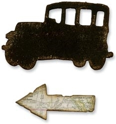 Tim Holtz Sizzix MINI OLD JALOPY & ARROW Dies Movers Shapers 657471 zoom image