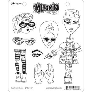 Dyan Reaveley TRAVELING TRAVIS Stamp Set Dylusions Cling Unmounted Rubber zoom image