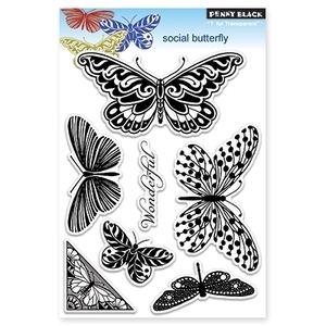 Penny Black Clear Stamps SOCIAL BUTTERFLY Transparent 30-116
