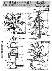 Tim Holtz Cling Rubber Stamps CHRISTMAS BLUEPRINT CMS135 Preview Image