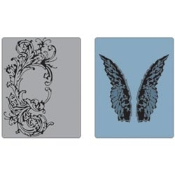 Tim Holtz Sizzix FLOURISH AND WINGS Texture Fades Embossing Folders 658271 zoom image