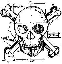 Tim Holtz Rubber Stamp SKULL SKETCH Stampers Anonymous P1-1942