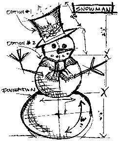 Tim Holtz Rubber Stamp SNOWMAN SKETCH Stampers Anonymous U1-1947