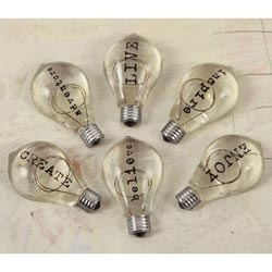 Prima Marketing TYPO BULBS 2 Junkyard Findings Vintage Trinkets 891534