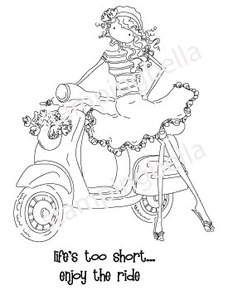Stamping Bella Cling Stamp UPTOWN GIRL VIENNA AND HER VESPA Rubber UM eb223 Preview Image