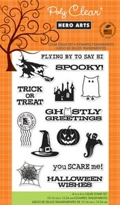 Hero Arts Clear Stamps GHOSTLY GREETINGS Halloween CL628*