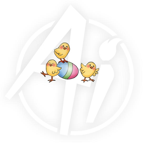 Art Impressions EASTER CHICKS Cling Rubber Stamp zoom image