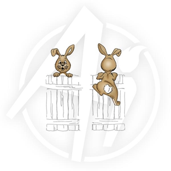 Art Impressions BUNNY Front 'n Backs Cling Rubber Stamps