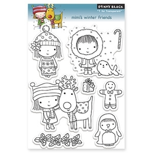 Penny Black Clear Stamps MIMI'S WINTER FRIENDS 30-133*