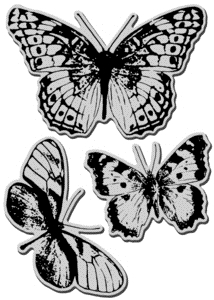 Stampendous Cling Stamp JUMBO BUTTERFLY TRIO Rubber UM CRS5044 Preview Image