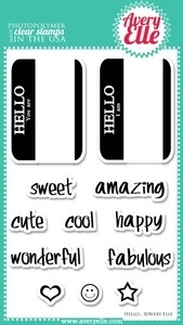 Avery Elle Clear Stamps HELLO Set 020405*
