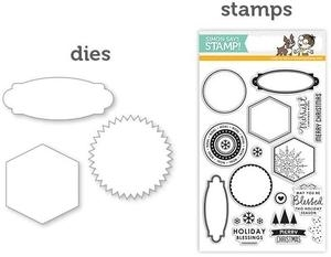 Simon Says DIES & STAMPS HOLIDAY APOTHECARY LABELS SetHA9 *