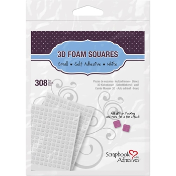 Scrapbook Adhesives 1/4 INCH 3D 308 WHITE FOAM Squares Adhesive 01612