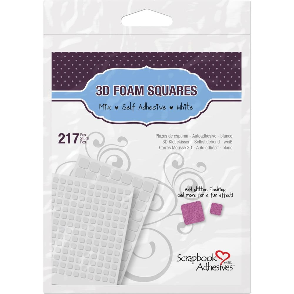 Scrapbook Adhesives 3D 217 WHITE FOAM Squares Adhesive 01614 zoom image