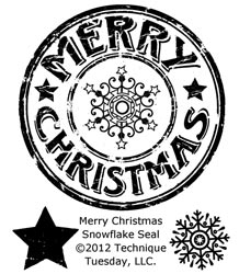Technique Tuesday Clear Stamps MERRY CHRISTMAS SNOWFLAKE SEAL zoom image