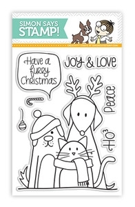 Simon Says Clear Stamps FURRY CHRISTMAS Friends Pets sss101204