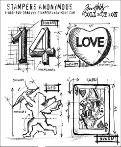 Tim Holtz Cling Rubber Stamps VALENTINE BLUEPRINTS cms143
