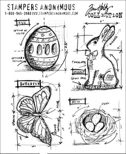 Tim Holtz Cling Rubber Stamps EASTER BLUEPRINTS cms144