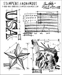 Tim Holtz Cling Rubber Stamps AMERICANA BLUEPRINTS cms145