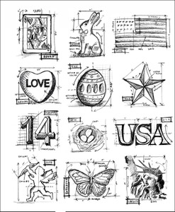 Tim Holtz Cling Rubber Stamps MINI BLUEPRINTS 2 Stampers Anonymous cms146