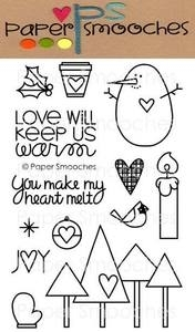 Paper Smooches WARM HEARTS Clear Stamps Kim Hughes