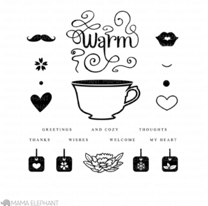 Mama Elephant Clear Stamp CUP OF WISHES Set