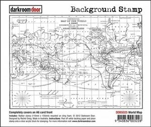 Darkroom Door Cling Stamp WORLD MAP Background Rubber UM DDBS025