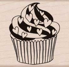 Hero Arts Rubber Stamp HEART CUPCAKE e5740