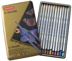 Derwent 12 METALLIC COLORED PENCILS  Watercolor 0700456