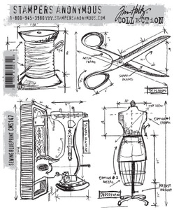 Tim Holtz Cling Rubber Stamps SEWING BLUEPRINT CMS147 zoom image