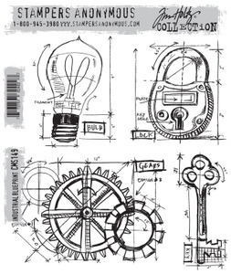 Tim Holtz Cling Rubber Stamps INDUSTRIAL BLUEPRINT CMS149