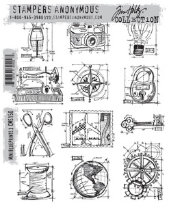 Tim Holtz Cling Rubber Stamps CMS150 MINI BLUEPRINTS 3 Stampers Anonymous Preview Image