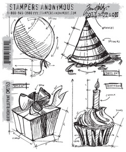 Tim Holtz Cling Rubber Stamps BIRTHDAY BLUEPRINT CMS153 Preview Image