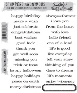 Tim Holtz Cling Rubber Stamps SIMPLE SAYINGS cms155