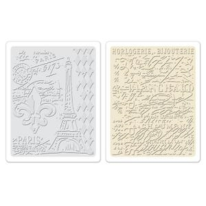 Tim Holtz Sizzix EIFFEL TOWER & FRENCH SCRIPT Texture Fades 658577 Preview Image