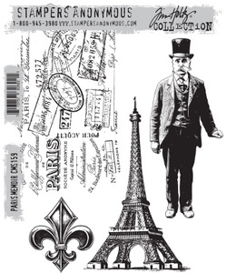 Tim Holtz Cling Rubber Stamps PARIS MEMOIR cms159